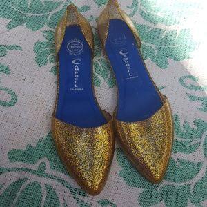 Gold Glitter Jeffrey Campbell Jelly Flats